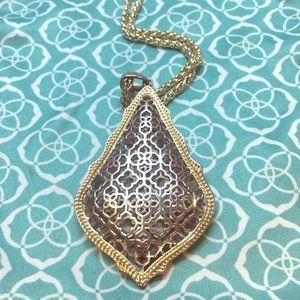 Kendra Scott Aiden gold necklace w silver filigree